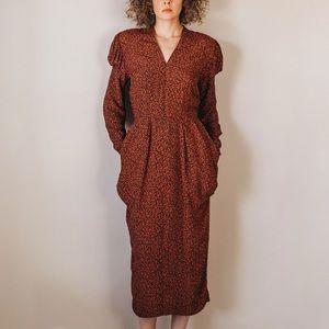 Vintage 80s Nicole Miller Abstract Blouson Dress